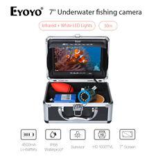 """EYOYO 30M 7""""IR+White LED Light Underwater Fishing Camera Fishfinder Fixed on Rod"""