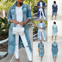 US Women Ripped Denim Long Jacket Coat Casual Button Jeans Trench Outwear Tops