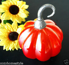 FROSTED AMBER HANDBLOWN ART GLASS PUMPKIN METAL STEM FIGURIN THANKSGIVING FALLsm