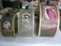 Vintage Tin Canister Set Original 1930-40s With Top Hinged Doors
