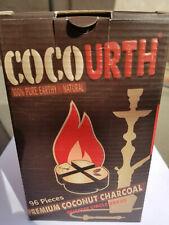 CocoUrth 96 Pcs Natural Coconut Hookah Charcoal Coal (QUARTER CIRCLES) 1kg