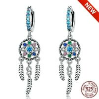 Authentic 925 Sterling Silver Dream Catcher Hanging Drop women Earrings new