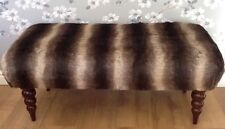 A Footstool Stool In Laura Ashley Faux Fur Fabric