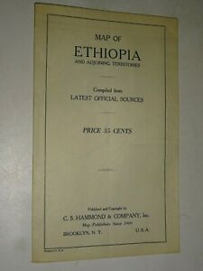 vintage 1930's Map of Ethiopia & adjoining Territories by C.S. Hammond & Co.