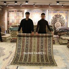 Yilong 5'x7' Floral Handmade Sheen Silk Carpets Dining Room Silk Area Rugs S156A