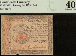 1779 $40 DOLLAR ALL SEEING EYE CONTINENTAL CURRENCY NOTE PAPER MONEY CC-95 PMG