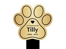 Personalised Pet Paw Print Memorial Plaque Stake - Grave Marker Outdoor Garden
