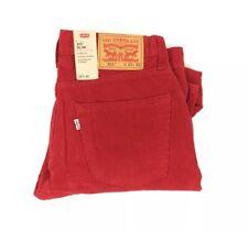 NEW Levi's Strauss 511 Slim Warp Stretch Bright Red Mens Corduroy Pants Trousers