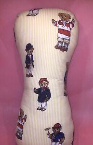 """Vtg Ralph Lauren Polo BEAR Sport Pillow Hand Made Lumbar Blue Yellow Stripe 16"""""""