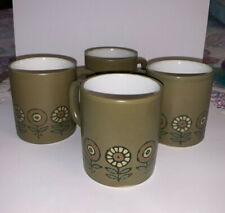 Vintage Retro Stonewear Flower Mug Set of 4