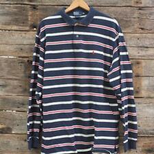 Polo Ralph Lauren Vintage Shirt 2Xl Xxl Striped Navy Polo Sport Made in Usa