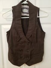 S. OLIVER WOMEN'S BROWN PLAID SLEEVELESS VEST SIZE 8