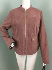 NWT Womens Kenneth Cole Reaction Faux Suede Laser Cut Jacket Sz L Large