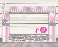 Pink Elephant Baby Shower Photo Booth Frame - PERSONALIZED PRINTED & SHIPPED
