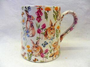 Rabbit meadow tankard mug by Heron Cross Pottery