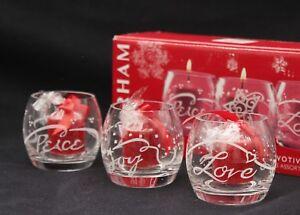 Gorham Crystal Holiday Votives Set of 3 Peace Joy Love NEW