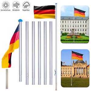 Fahnenmast Alu Flaggenmast Aluminium 6,5m Mast Flagge Seilzug Bodenhülse Stabil