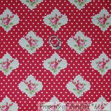 BonEful FABRIC FQ Cotton Quilt Pink White Polka Dot Rose Bud Flower Shabby Chic