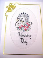 Wedding Day Card Completed Cross Stitch Swans 8x6""