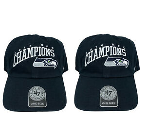 Two Seattle Seahawks NFL 2014 NFC Champions Adjustable Strapback Caps NWT
