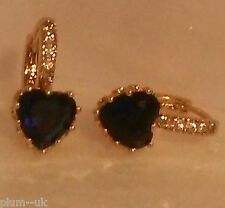 FH Deep blue sapphire heart 18k yellow gold gf French hoop earrings Plum UK BOXD
