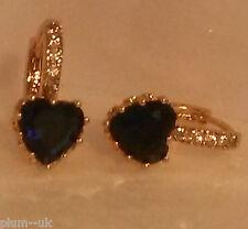 FH0 Deep blue sapphire heart 18k yellow gold gf French hoop earrings PlumUK BOXD