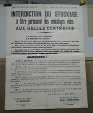 AFFICHE ANCIENNE HALLES DE PARIS INTERDICTION DU STOCKAGE EMBALLAGES 1949