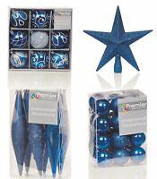 Christmas Tree Decorations Xmas Tree Baubles Glitter Gloss & Matt Midnight Blue