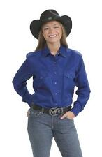 NEW! Women's Solid Cotton Western Show Shirt - Black Denim Pink Red Royal White