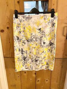 LK Bennett Yellow Grey Floral Print Hannah Pencil Skirt Size 14