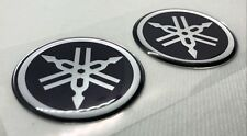 2x Yamaha Roundal Logo Badge 3D Domed Stickers. Silver Black. 50mm diam.