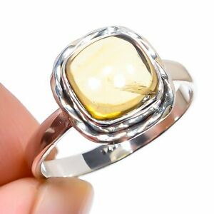Citrine Gemstone Handmade 925 Solid Sterling Silver Jewelry Ring Size 9