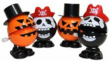 "Jack O Lantern Pumpkin & Skull Bones Pirate 2"" Halloween Wind Up Toys, 4 pcs Set"