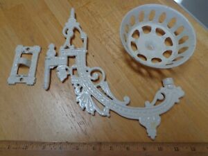 Ornate Antique Cast Iron Swivel Arm Victorian Plant Holder Bracket