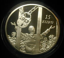 IRELAND 15 EURO SILVER PROOF COIN. 2013. CENTENARY OF DUBLIN LOCKOUT STRIKE 1913