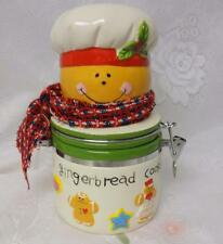Vintage Pottery Cookie Jar All Over Gingerbread Man Cookies & Cinnamon Tea