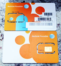 Lot of 10 At&T Prepaid / Postpaid 4G Lte Go Phone Sim Card Standard Size 73057