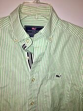 VINEYARD VINES Tucker Button Front Oxford Shirt Mens Small Green Striped