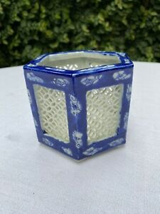 Japanese Blue and White Reticulated Porcelain Planter Vase Cricket Cage