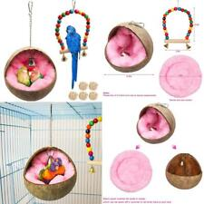 Natural Coconut Bird Nest,Parrot Coco Hut House Bed With Warm Mat Resting Breedi