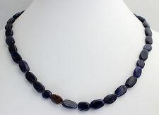 Blau Quarz Kette Edelsteinenkette,45cm Lang,Collier,Halskette,Schmuck Oval Stein