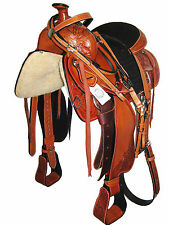 "WESTERN ROPING SADDLE SET HAND CARVED BRIGHT TAN 15"" SUEDE SEAT (1089)"