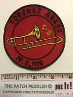 TORSNESS BRASS PATCH ~ Norway Says 1928, But Not That Old Trombone Band 5NU3 ex