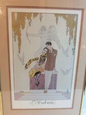 """Vintage 1925 George Barbier L'Automne France Framed Matted 20"""" x 14""""~Estate"""
