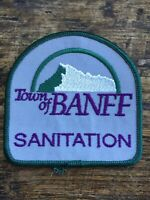 "Vtg Town Of Banff Sanitation 3"" Embroidered Sew On Patch Alberta Canada AB Badge"