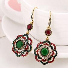 Women Long Clip Crystal Drop Earrings Ethnic Vintage Party Cuff Wedding Earring