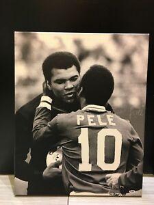 Muhammad Ali and Pele Embrace Authentic Canvas Autograph PSA