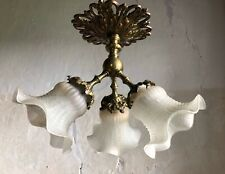 Antique French 3-Arm Bronze Ceiling Light. Early 20thC.