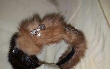 Two Tone Mink Fur Headband & Crystals