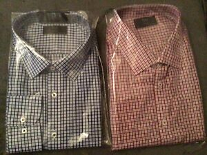 """2 X CHECKED SHIRTS FROM M&S SIZE 19"""" REGULAR BNWT   54"""" CHEST"""